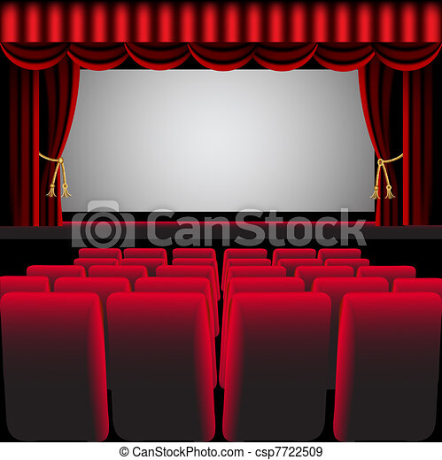 cinema hall with red curtain and easy chair - csp7722509