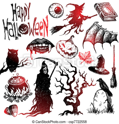 Halloween and horror hand drawn vector set - csp7722558