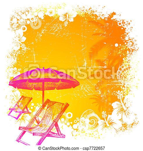 Vektoren Illustration von Hand, gezeichnet, sandstrand, Stuhl, schirm ...