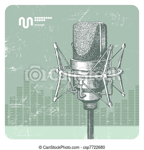 Hand drawn vector studio condenser microphone - csp7722680