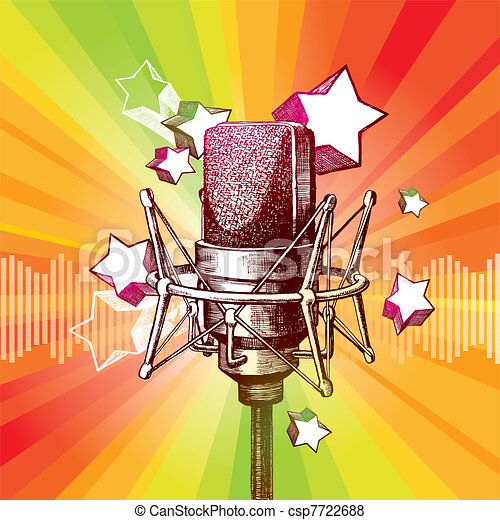 Vector hand drawn studio microphone and stars - csp7722688