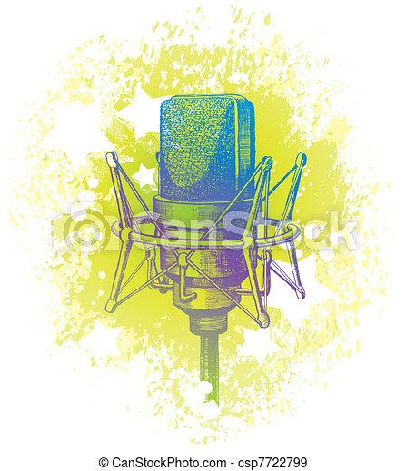 Vector hand drawn studio condenser microphone - csp7722799