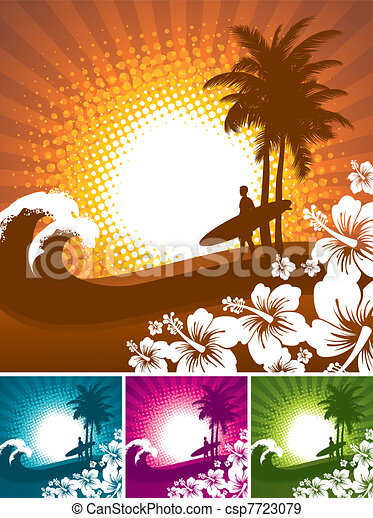 Hibiscus and surfer silhouettes on a tropical beach landscape - vector illustartion - csp7723079