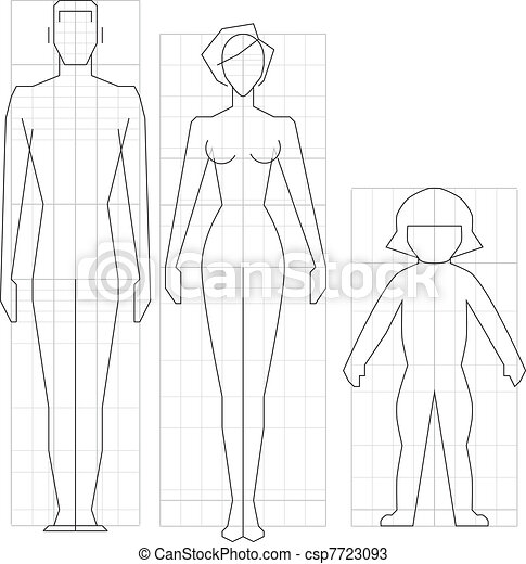 Drawing circuit man, woman and child body, vector illustration. - csp7723093