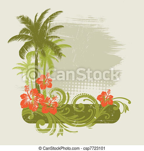 Hibiscus with ornament and palms - vector illustration - csp7723101
