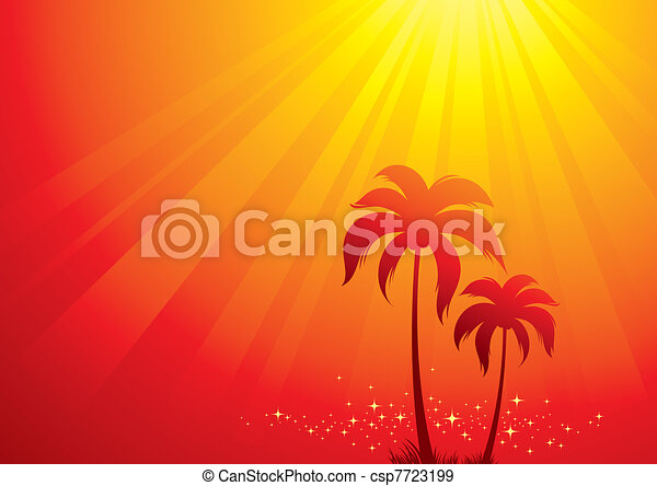 Vector illustration with palm trees & sunlight - csp7723199