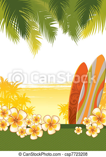Vector tropical illustration with surfboards & flowers of frangipani - csp7723208