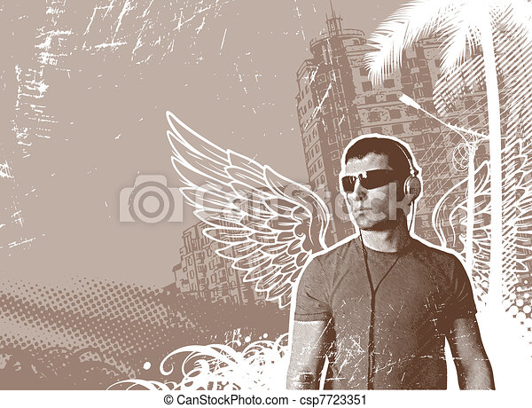 Man with wings & headphones on a urban landscape - vector illustration - csp7723351