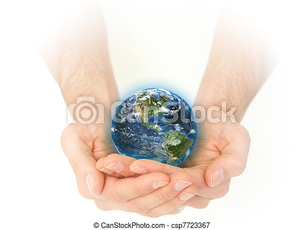 Masculine hands holding the Earth - csp7723367