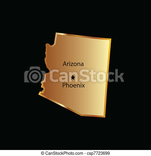 Gold arizona state map - csp7723699