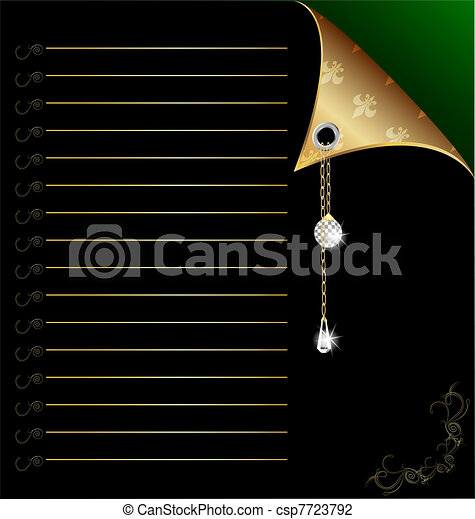 black-green paper with gold corner and crystal - csp7723792