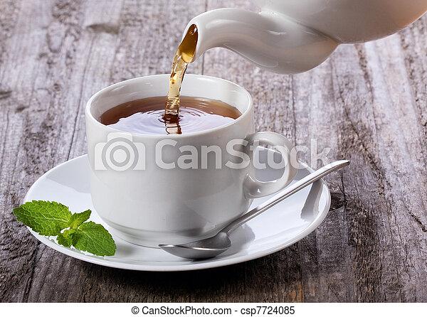 Pouring tea into cup of tea - csp7724085