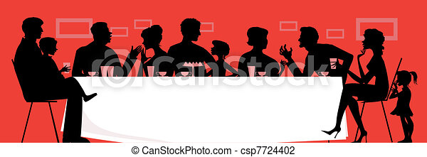 Vector Illustration of Family dinner - Silhouettes of a ...