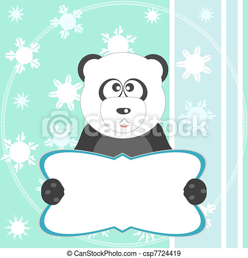 panda bear soft green greeting card - csp7724419