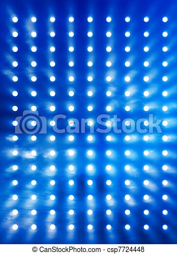 Rock stage lights blue smoke - csp7724448