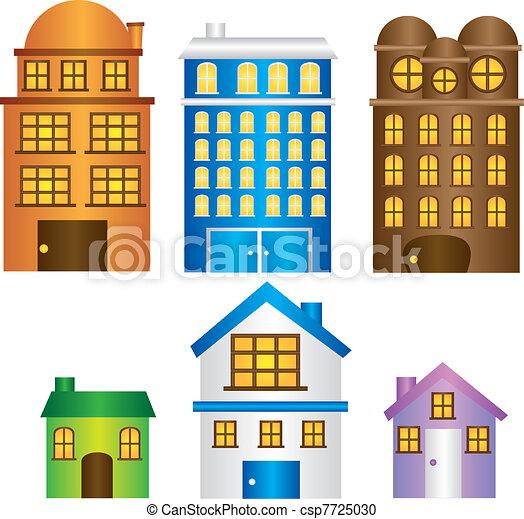 Grficos vectoriales EPS de casas edificios vecindad