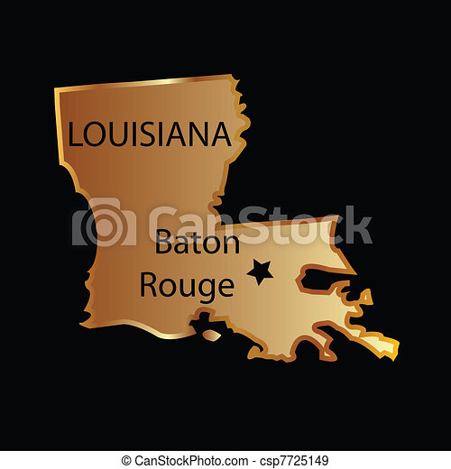 Gold louisiana state map - csp7725149