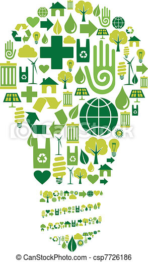 Green bulb with environmental icons - csp7726186