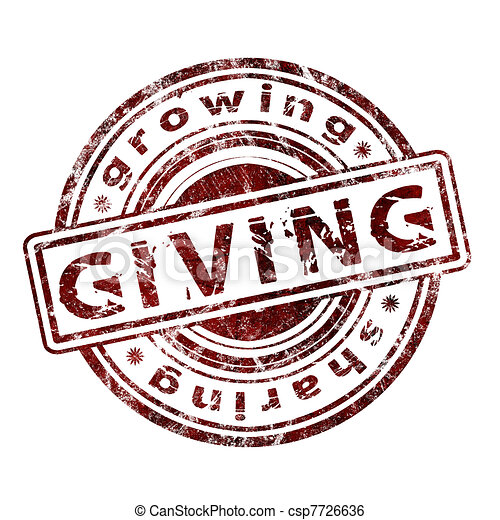 "Grunge Rubber Stamp ""Giving"" - csp7726636"
