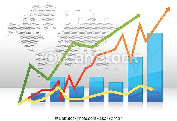 Finance bar graph with arrows - csp7727487