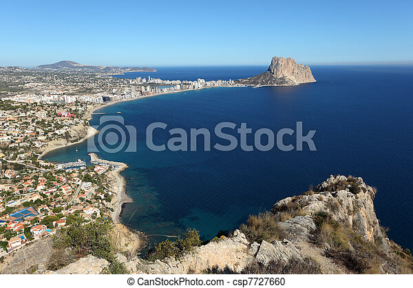 View of the Mediterranean resort Calpe, Costa-Blanca Spain - csp7727660