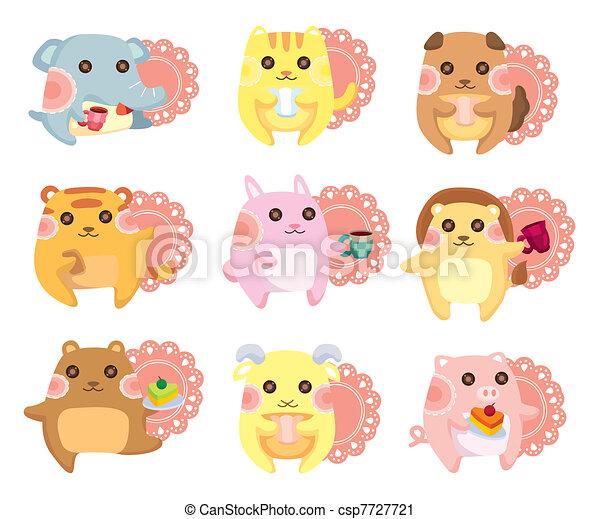 cartoon animal Afternoon Tea time - csp7727721