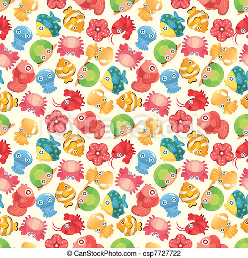 cartoon aquatic fish animal seamless pattern - csp7727722