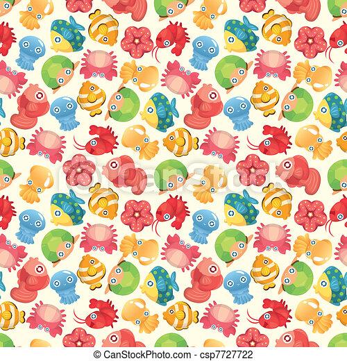 cartoon aquatic fish animal seamless pattern - csp7727722