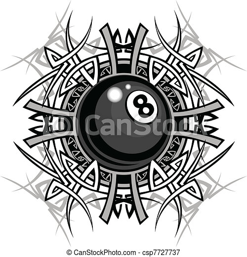 Billiards Eight Ball Tribal Graphic - csp7727737