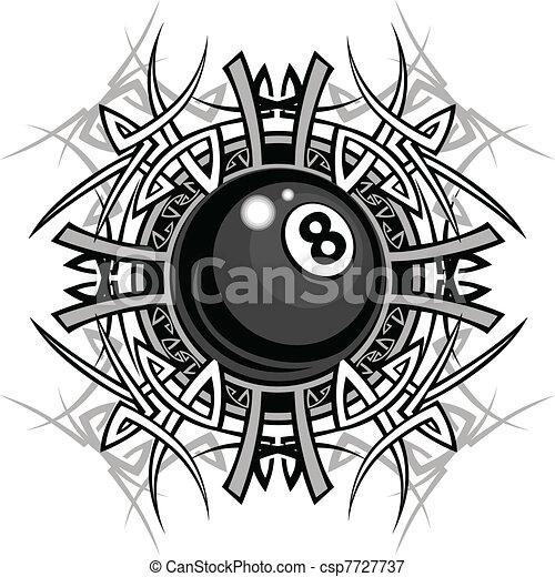 Billiards Eight Ball Tribal Graphic - csp7727737