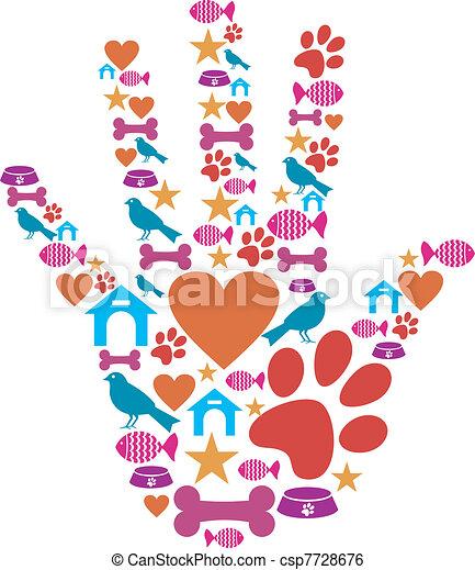 Pet animal protective hand icon set - csp7728676