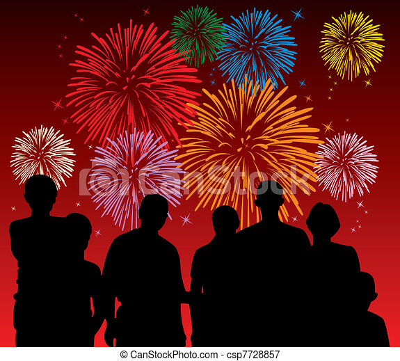 people watching fireworks - csp7728857