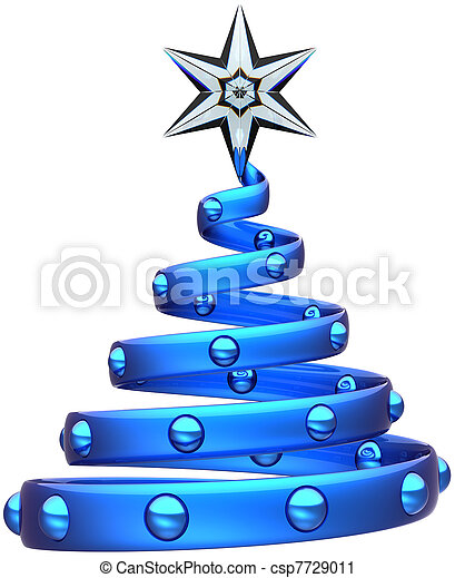 Christmas tree blue abstract symbol - csp7729011