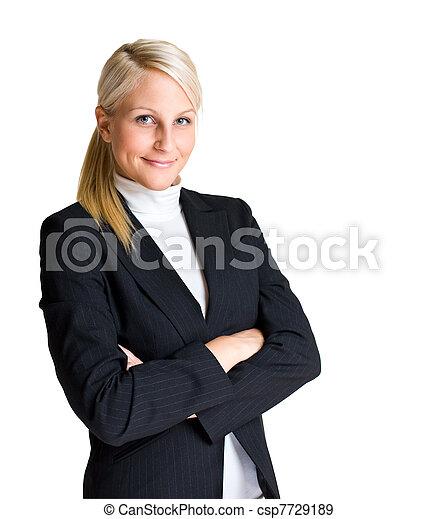 Half length portrait of attractive young businesswoman. - csp7729189