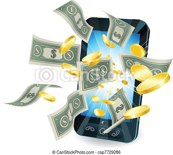 Money mobile phone concept - csp7729286