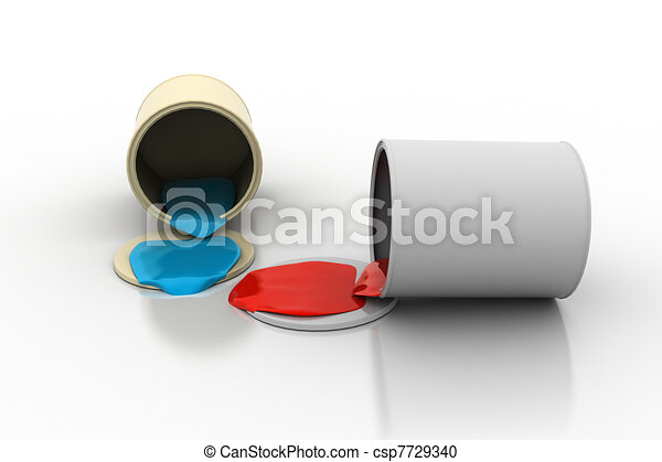 Spilled can of paint - csp7729340