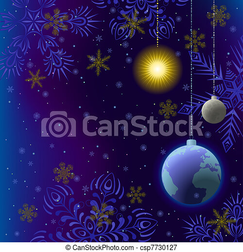 Christmas background, snow in space - csp7730127
