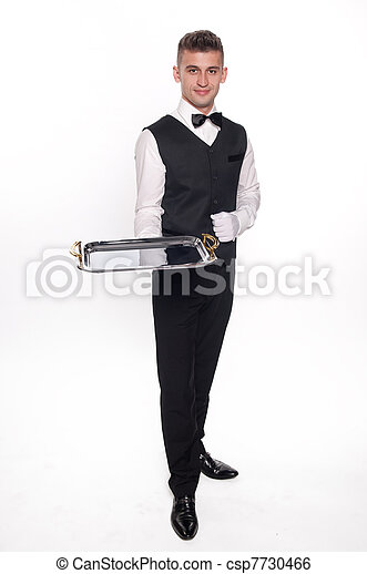 Haughty waiter holding an empty tray to place your product - csp7730466