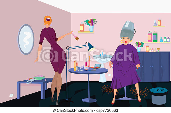 Beauty salon  worker with brush  and client under blow dryer stand up - csp7730563