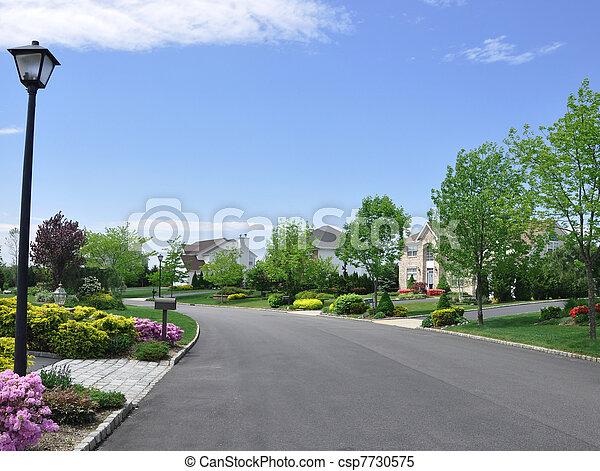 Stock Images of Empty Suburban Neighborhood Street - Empty ...