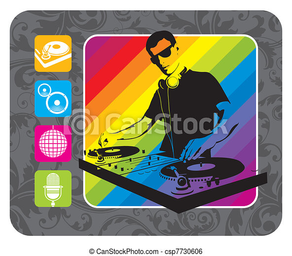 DJ, turntable & musical icons - vector illustration - csp7730606
