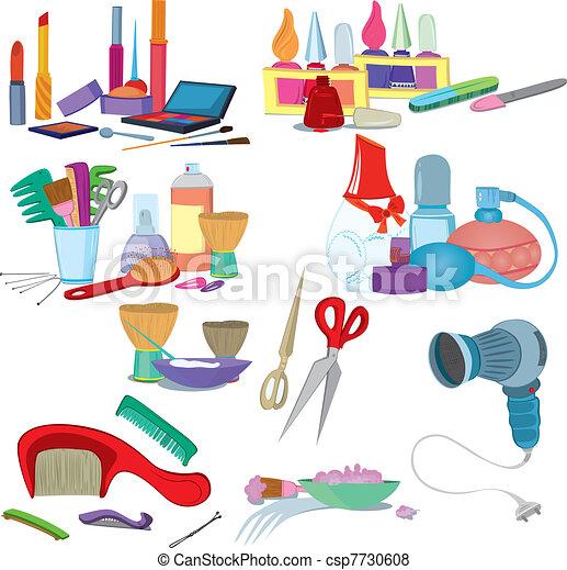 Beauty salon brushes, make up manicure icon set   - csp7730608