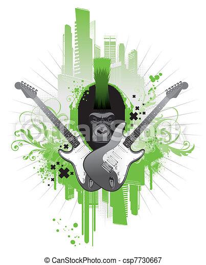 Grunge musical vector emblems  - csp7730667