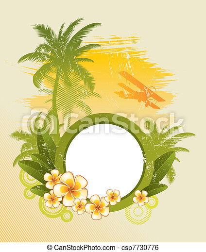 Round frame for text & tropical flora - vector illustration - csp7730776