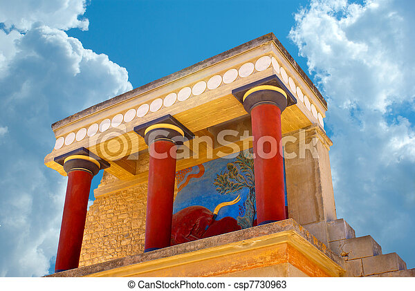 Knossos palace at Crete, Greece Knossos Palace, is the largest Bronze Age archaeological site on Crete and the ceremonial and political centre of the Minoan civilization and culture - csp7730963