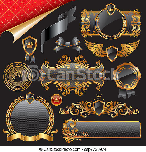 Set of royal gold design elements - csp7730974