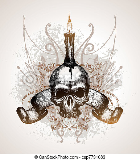 Hand drawn vector illustration - Skull, scroll and candle - csp7731083