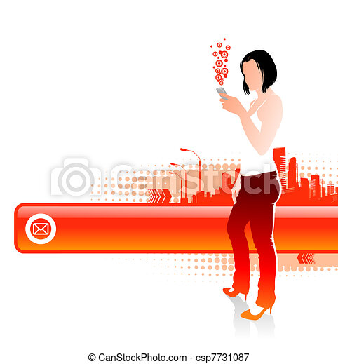 Girl with cellphones on a cityscape landscape - vector illustration with frame for text - csp7731087
