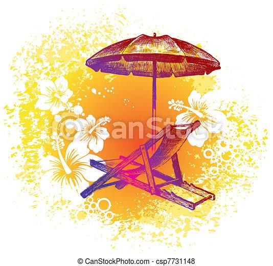 ... , Hand, tropische, vektor, hintergrund, gezeichnet, Stuhl, sandstrand