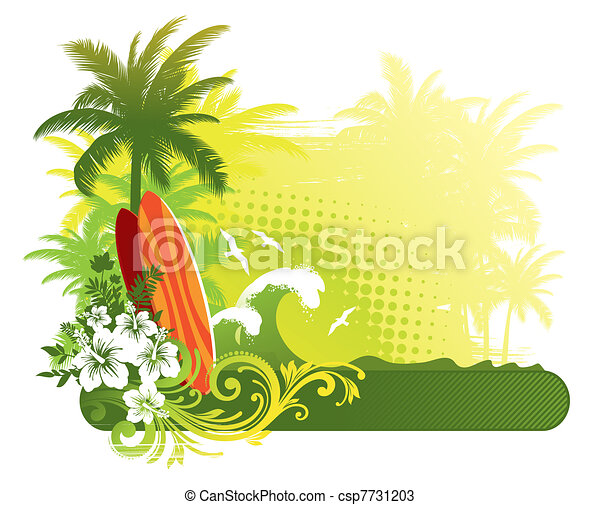 Vector illustration - surfboard on tropical landscape - csp7731203